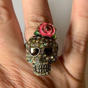 Betsy Johnson 'Rare' Crystal Skull Ring